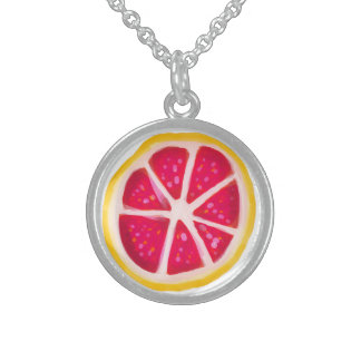 Hot Pink Yellow Citrus Grapefruit Slice Round Pendant Necklace