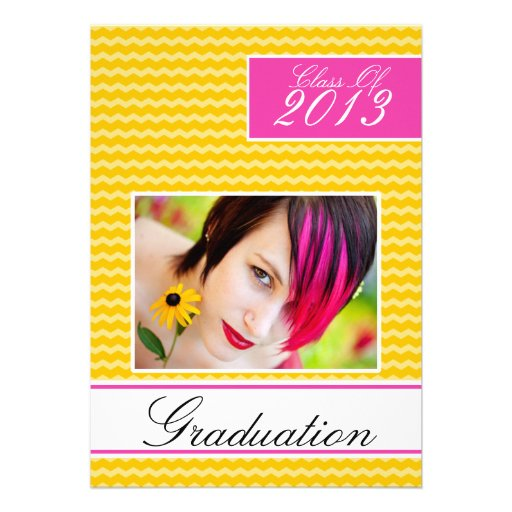Hot Pink Yellow Graduation Open House Party Custom Invite