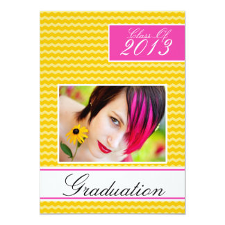 Hot Pink Yellow Graduation Open House Party 5x7 Paper Invitation Card