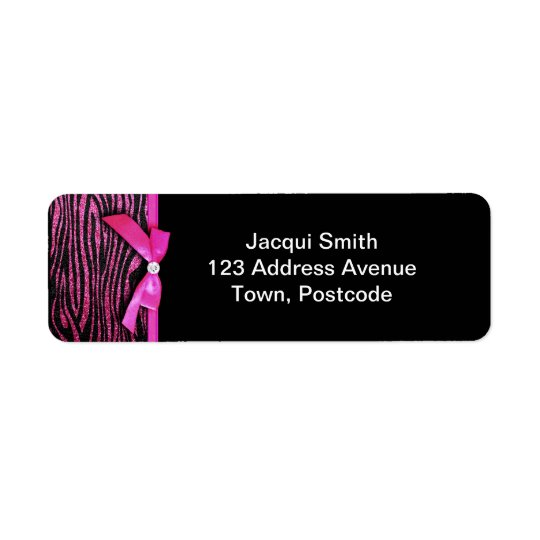 Hot pink zebra and ribbon bow graphic return address label