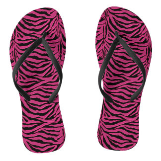 Hot Pink Zebra Animal Print Flip Flops