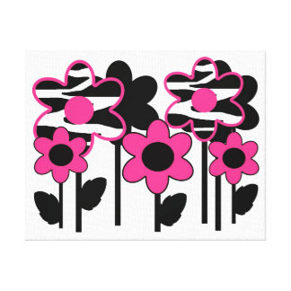 Hot Pink Zebra Animal Print Flower Abstract Girl