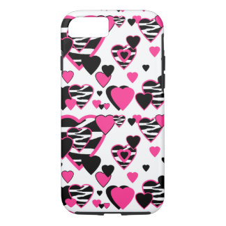 Hot Pink Zebra Animal Print Hearts Teen Girl iPhone 8/7 Case