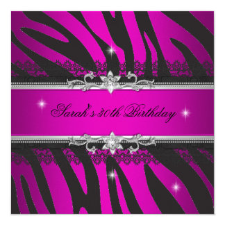 Hot Pink Zebra Black Silver 30th Birthday Party Card