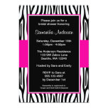 Hot Pink Zebra Bridal Shower 13 Cm X 18 Cm Invitation Card