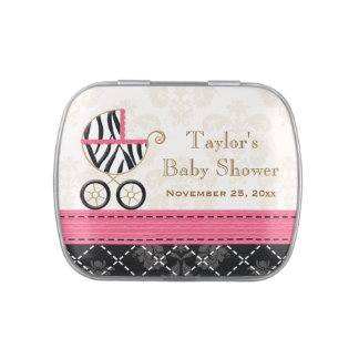 Hot Pink Zebra Carriage Baby Shower Favor Candy Tins