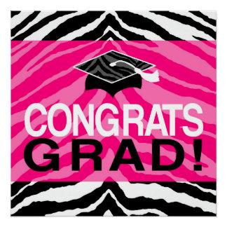 Hot Pink Zebra Congrats Girl's Graduation Party