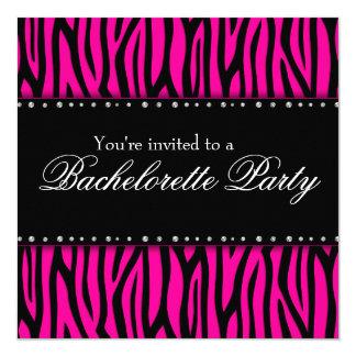 Hot Pink Zebra Diamonds Bachelorette Party Card