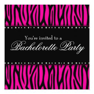 """Hot Pink Zebra Diamonds Bachelorette Party 5.25"""" Square Invitation Card"""