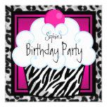 Hot Pink Zebra Girls Cupcake Birthday Party