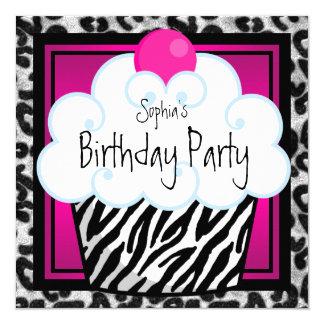 Hot Pink Zebra Girls Cupcake Birthday Party 13 Cm X 13 Cm Square Invitation Card