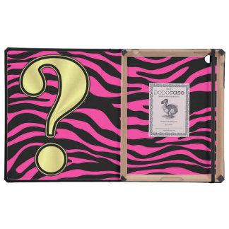 HOT PINK ZEBRA GOLD QUESTION MARK iPad FOLIO CASE