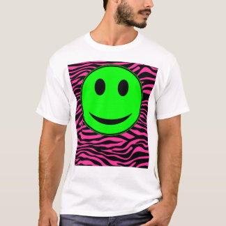 HOT PINK ZEBRA GREEN SMILEY T-Shirt