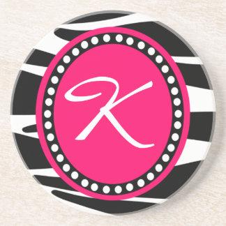 Hot Pink Zebra Monogrammed Initial (Sample) Beverage Coasters
