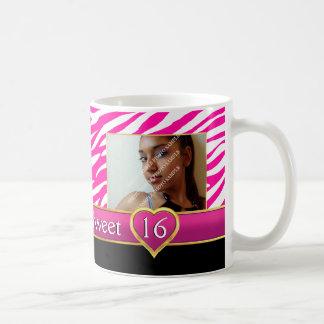 Hot pink zebra print glam Sweet Sixteen birthday Basic White Mug