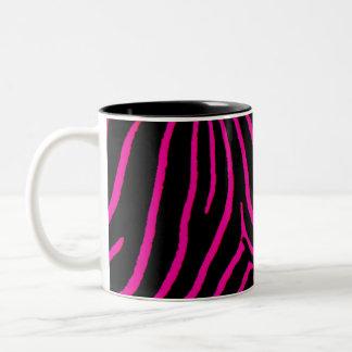 Hot Pink Zebra Print Two-Tone Mug