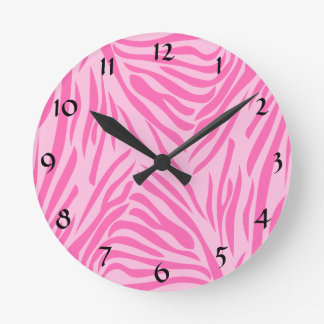 Hot Pink Zebra Print Wall Clock