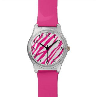 Hot Pink Zebra print watch