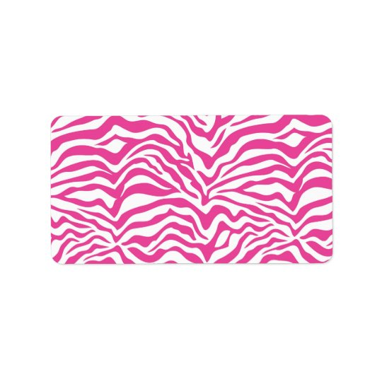 Hot Pink Zebra Print Wild Animal Stripes Novelty Address Label