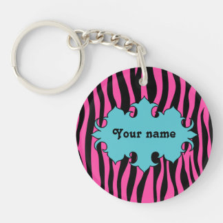 Hot pink zebra print with blue banner Single-Sided round acrylic keychain