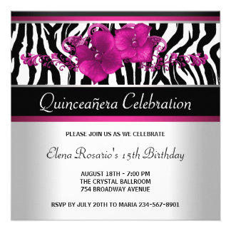 Hot Pink Zebra Quinceanera Invitations
