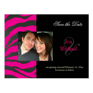 Hot pink zebra Save the Date Photo postcards, Postcard