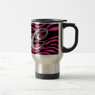 HOT PINK ZEBRA SILVER C TRAVEL MUG