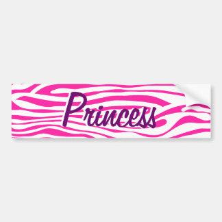 Hot Pink Zebra stripe pattern animal print Car Bumper Sticker