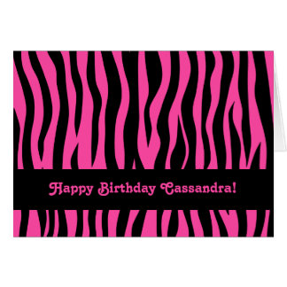 Hot pink zebra stripes birthday for teen or tween greeting cards