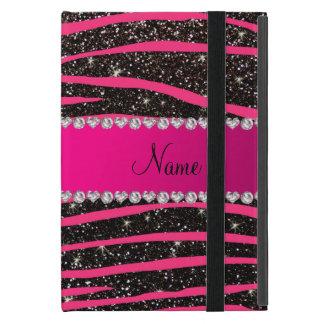 Hot pink zebra stripes black glitter pink stripe iPad mini covers