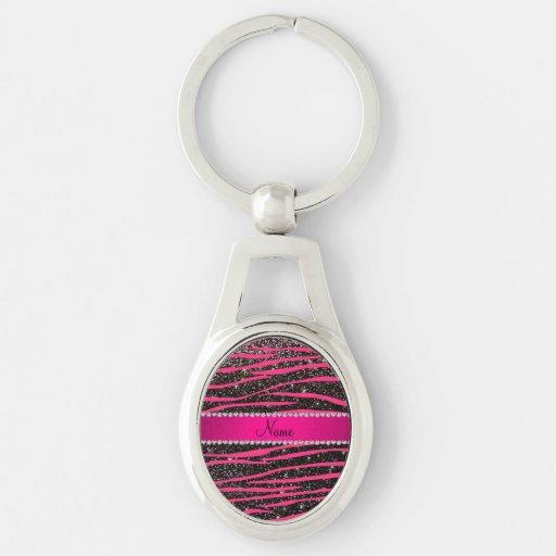 Hot pink zebra stripes black glitter pink stripe keychain