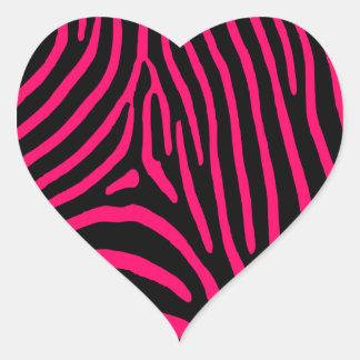 Hot Pink Zebra Stripes Heart Sticker