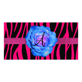 Hot pink zebra stripes monogram blue rose customized photo card