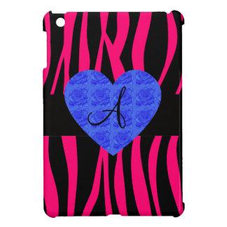 Hot pink zebra stripes monogram blue roses iPad mini cases