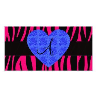 Hot pink zebra stripes monogram blue roses customised photo card