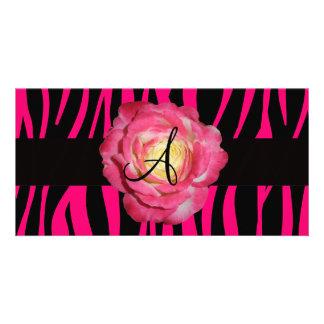 Hot pink zebra stripes monogram pink rose photo card