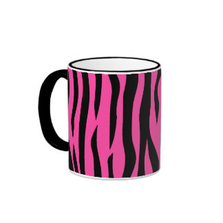 Hot pink zebra stripes ringer mug