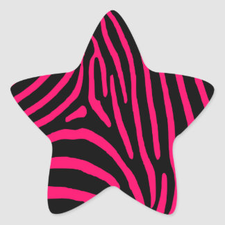 Hot Pink Zebra Stripes Star Sticker