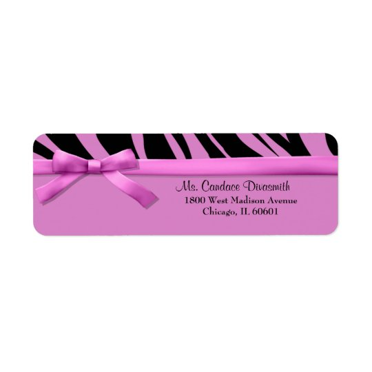 Hot Pink Zebra Stripes With Matching Ribbon Return Address Label