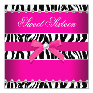 Hot Pink Zebra Sweet 16 Birthday Party 13 Cm X 13 Cm Square Invitation Card