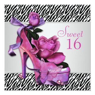 Hot Pink Zebra Sweet Sixteen Birthday Party 13 Cm X 13 Cm Square Invitation Card