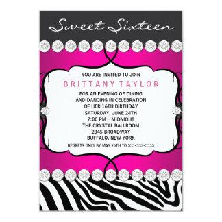 Hot Pink Zebra Sweet Sixteen Birthday Party 13 Cm X 18 Cm Invitation Card