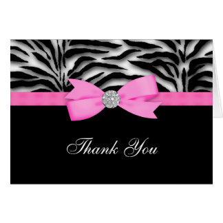 Hot Pink Zebra Thank You Cards
