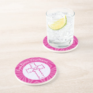 Hot Pink Zig Zag Cross With Name White Beverage Coaster