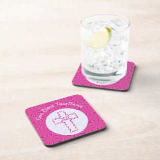 Hot Pink Zig Zag Cross With Name White Coaster