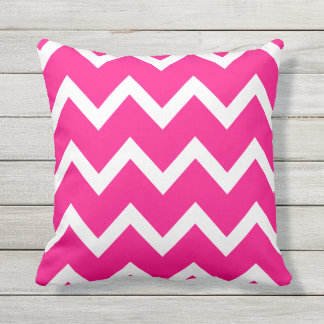 Hot Pink Zigzag Chevron Pattern Outdoor Pillows