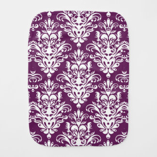 Hot Purple and White Elegant Damask Pattern Baby Burp Cloths