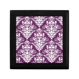 Hot Purple and White Elegant Damask Pattern Gift Box