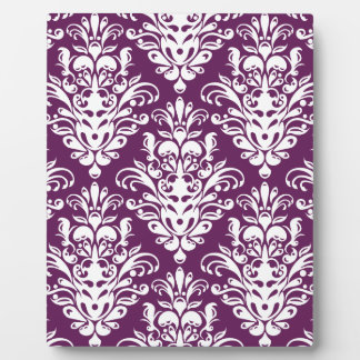 Hot Purple and White Elegant Damask Pattern Photo Plaques