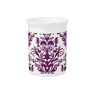 Hot Purple and White Elegant Damask Pattern Pitcher